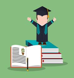 Graduate student stack book biology vector