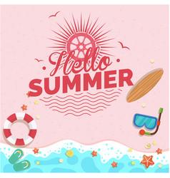 Hello summer beach pink background image vector