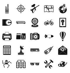 Hi-tech icons set simple style vector