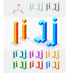 Isometric font from the cubes Letter I AND J vector image