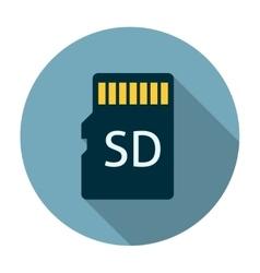 Micro sd card icon flat vector