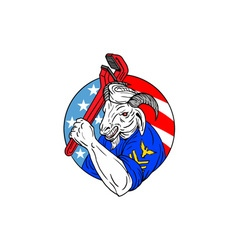 Navy goat holding pipe wrench usa flag circle vector