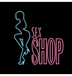 Neon banner sex shop text vector