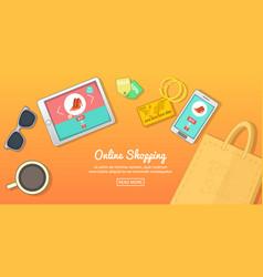 Online buy banner horizontal cartoon style vector