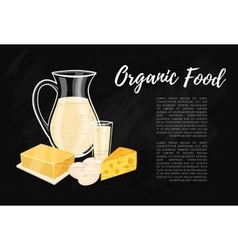 Organic food banner with dairy composition vector
