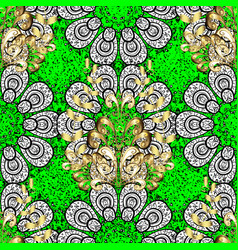 Oriental ornament pattern on green background vector
