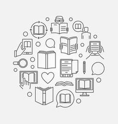 reading and education round vector image vector image
