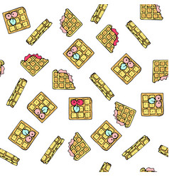 Seamless pattern with doodle sweet waffles vector