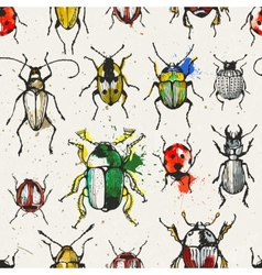 Seamless pattern with watercolor beetles vector image