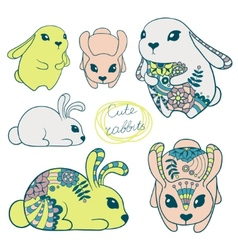 Set of cute rabbits vector