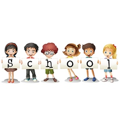 Six adorable students vector image vector image