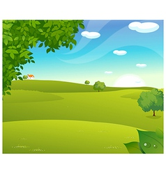 Sunrise green landscape vector