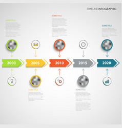 Time line info graphic with color arrows and vector