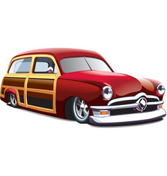 Wooden body hot rod vector