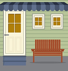 Wooden chair under stripes awning vector
