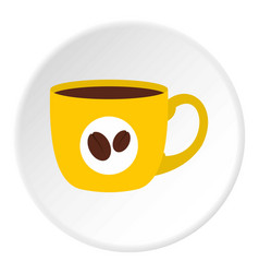 Yellow cup of coffee icon circle vector