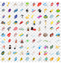100 character icons set isometric 3d style vector image