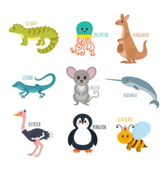 Abc cute zoo alphabet in  funny cartoon animals vector