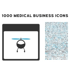 Helicopter calendar page icon with 1000 medical vector