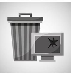 garbage bin technology broken vector image