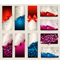 Set of beautiful Gift cards and banners with color vector image