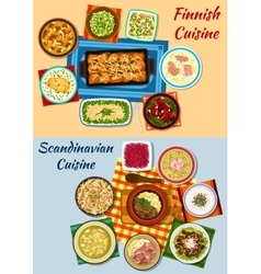 Scandinavian and finnish cuisine dinner icons vector image