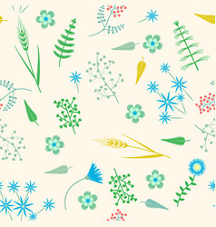 Embroidery seamless pattern with forest vector