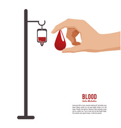 Blood hand holding drop vector