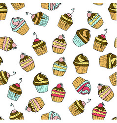 Seamless pattern with doodle sweet cakes vector