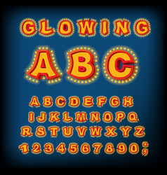 glowing abc light font retro alphabet with lamps vector image