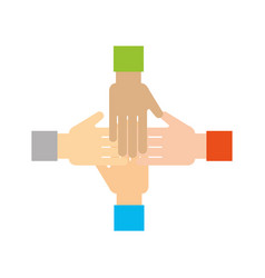 hands human teamwork icon vector image
