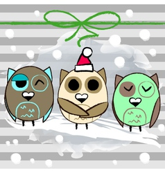 Christmas greeting card with owl and stripped vector
