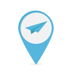 Map pointer with origami paper plane icon blue mar vector