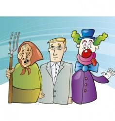 farmer woman businessman and clown vector image