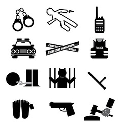 Police and law icon set vector