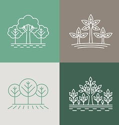 Trees and parks logo design elements in linear vector