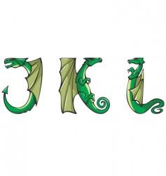 dragons Alphabet jkl vector image