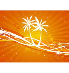 Sunset tropical background vector