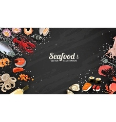 Seafood and fish background vector