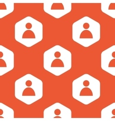 Orange hexagon user pattern vector