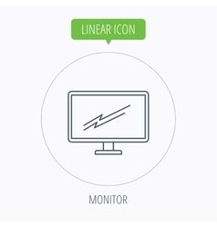 Pc monitor icon led tv sign vector