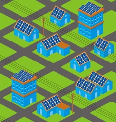 Solar houses pattern vector