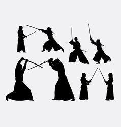 Kendo japanese sport silhouettes vector