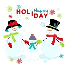 Greeting snowmen family vector image
