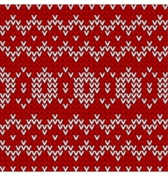 Seamless red and white knitted background vector