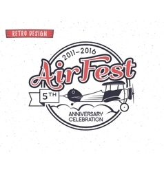 Air fest emblem Biplane label Retro Airplane vector image