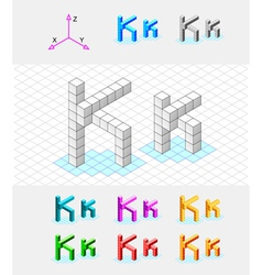 Isometric font from the cubes Letter K vector image