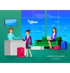 People in airport waiting hall vector image