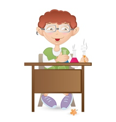 Student in the lab vector