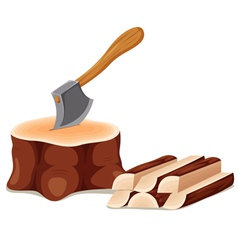Axe set in chopping block vector